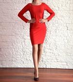 Červené šaty s krajkou, šité na zakázku, v. 38, 38