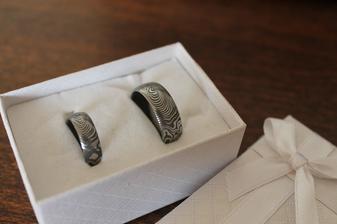 snubní prsteny, vlastnoručně kované..