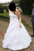 Sněhově bílé svatební šaty vel. 44-48 + spodnička, 44
