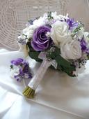 Satební kytice + korsáž pro ženicha + náramek ,