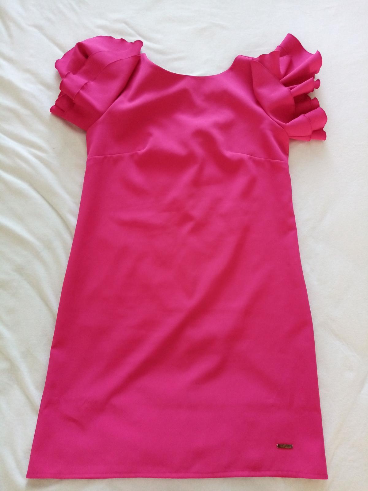 Krátke cyklaménové šaty 36/38 - Obrázok č. 1