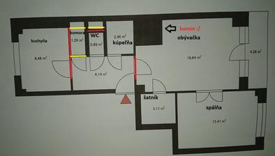 červené búrame, žlté murujeme...každý sa pýta čo je ten čierny štvorec v obývačke :D žiaľ obrovský komín :/ keby tam nebol asi premýšľame o spojení obývačky a kuchyne