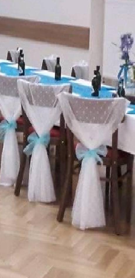 Světle modré mašle na židle 12 cm x 1m, 90 ks - Obrázek č. 1
