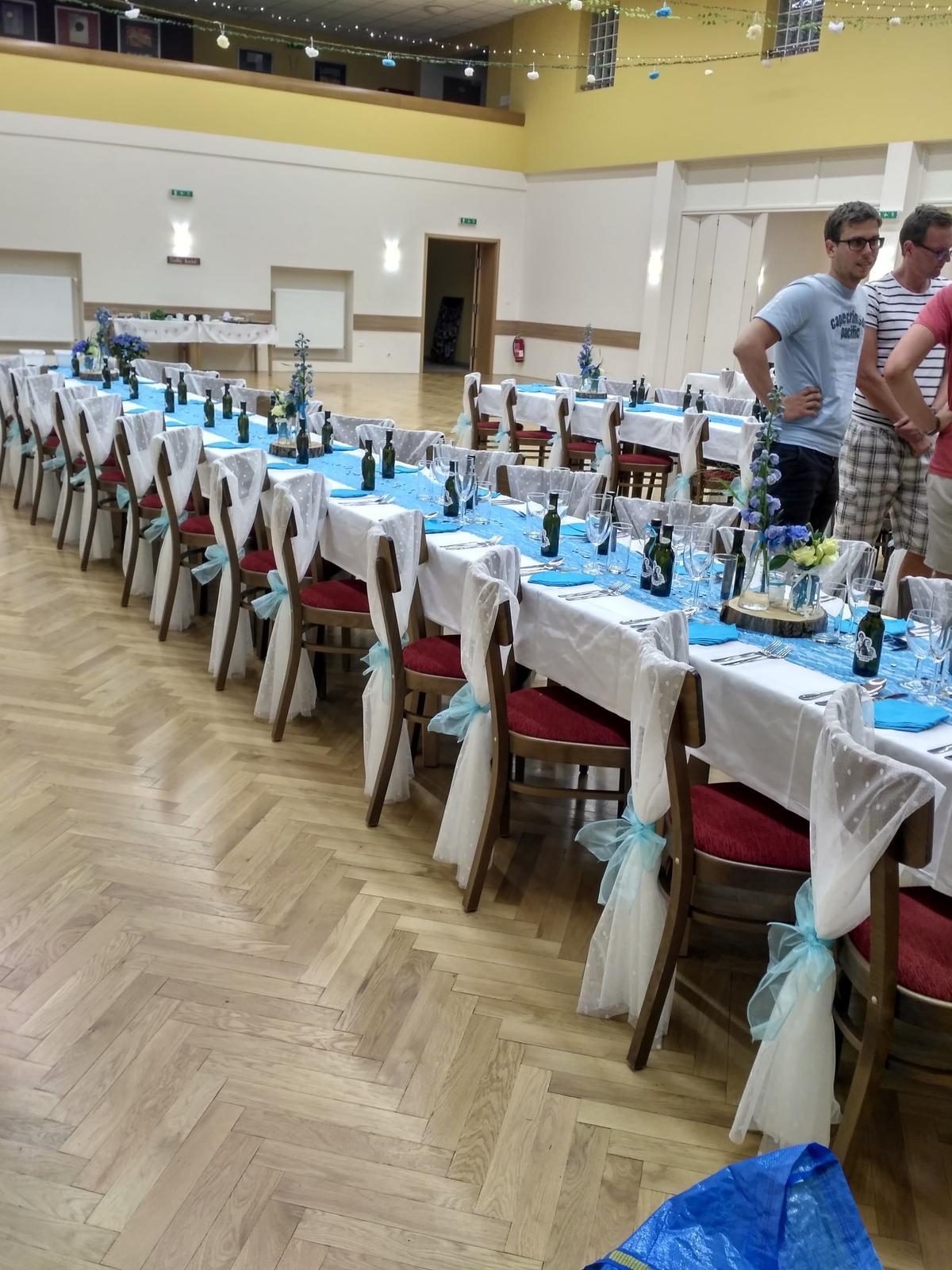 Světle modré mašle na židle 12 cm x 1m, 90 ks - Obrázek č. 4