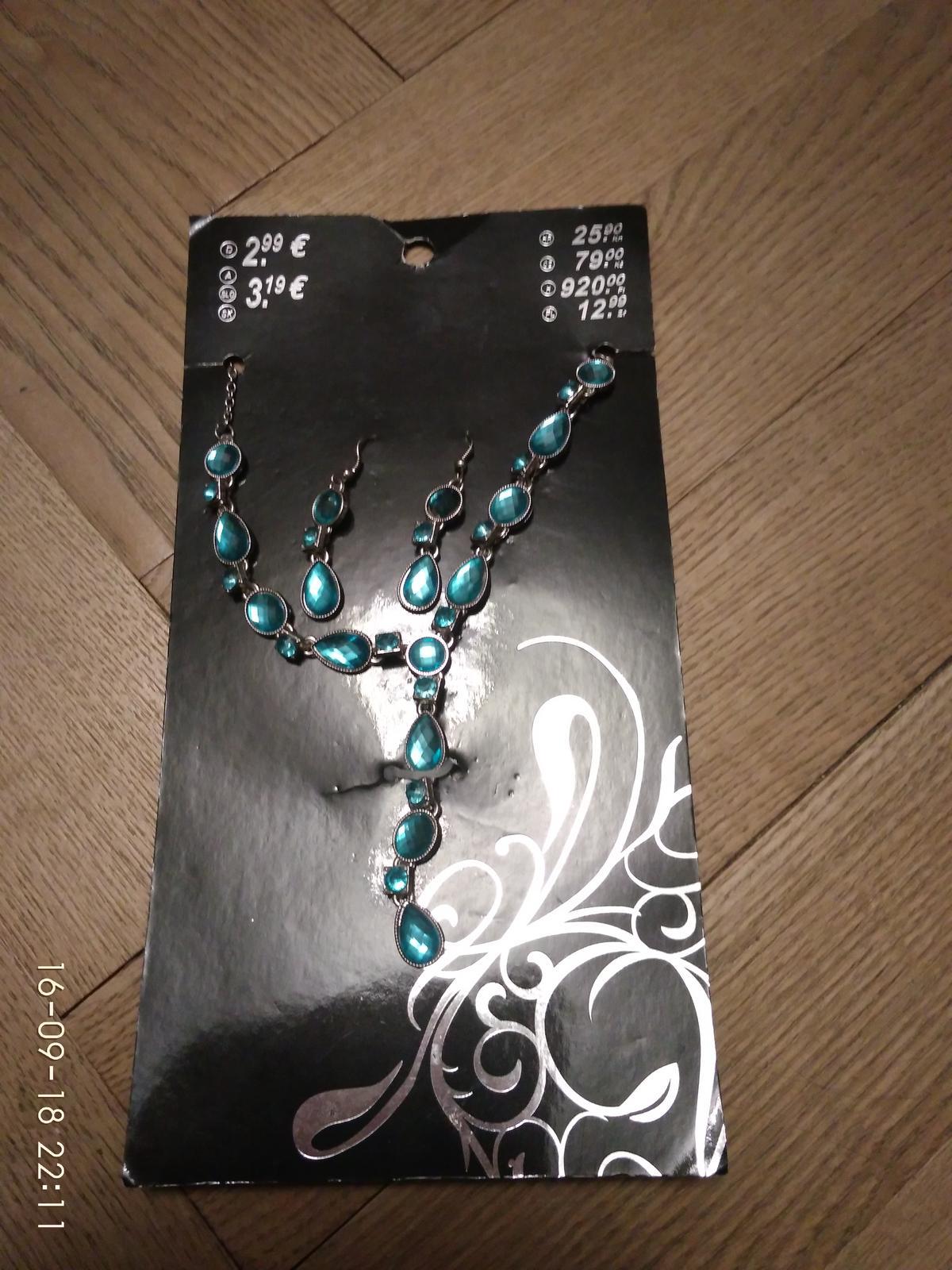 Světle modrá sada náhrdelník a náušnice - Obrázek č. 1