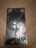 Světle modrá sada náhrdelník a náušnice,