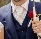 Svatební kravata - regata + kapesníček (BANDI),