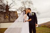 Krajkové svatební šaty se závojem šité na míru, 36