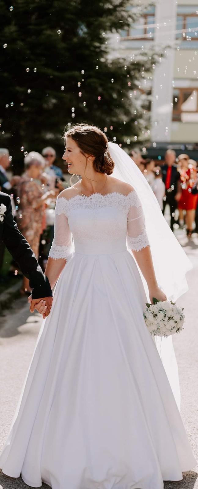 Svatební šaty, bílé, velikost 40, 3/4 rukáv - Obrázek č. 1