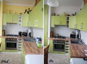 Změna malby ze žluté na bílou, kuchyn krásně prokoukla a máme pocit čistoty :-)
