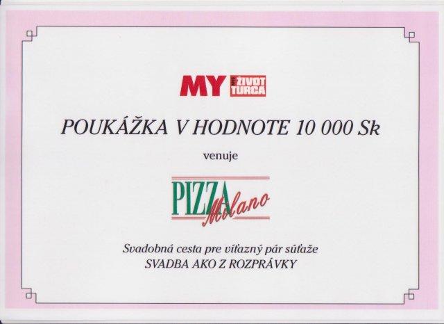 """Žabkovo zelená...29.09.2007 - a korunky na svadobnú cestu od Pizza Milano- nechcem robiť """"reklamu"""" ale pizzu majú fakt dobrú..."""