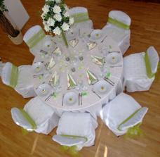 stoly svadobčanov