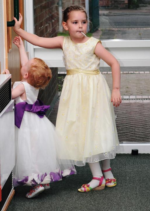 Naomi Poyser{{_AND_}}Elliott Burrows - My little sister (flower girl) and my cousin (yellow dress)