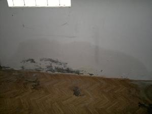 mokrá zeď v garáži, zvenku vedle zdi stáválo jezírko, které majitel vykopal a díru zaházel...zřejmě kopal i kde neměl... :-(