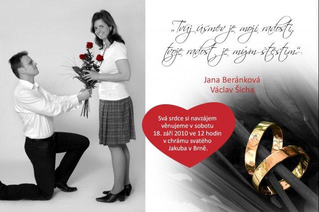 Jana a Vašek - 18. září 2010 v Brně - naše svatební oznámení :-)