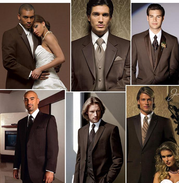 Co máme a co se mi líbí, hnědo-bílá svatba... - tak hnědý oblek existuje, jen najít tak krásný...