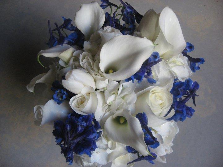 Co máme a co se mi líbí, hnědo-bílá svatba... - nově rozhodnuto, že v kytici bude i modrá a bude to asi takto, jen ty kaly budou hnědé, úplně to vidím...