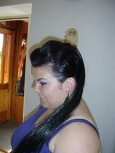Pricesok bol ciernej farby a vlasy fialovej ale ani moc nebolo vidno rozdiel :-) Co uz ked fialove pricesky tazko zohnat :-(