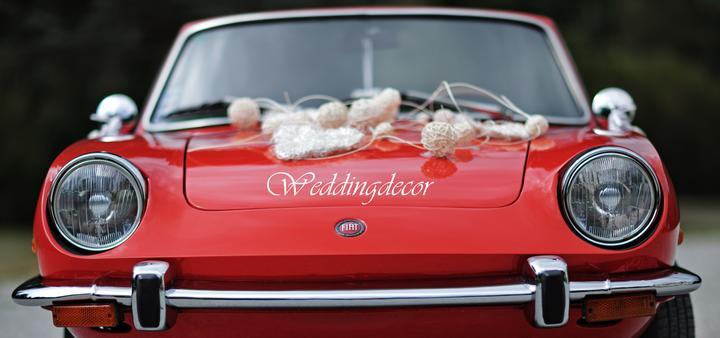 Naše spokojné zákazníčky a naše výrobky :) - Nevesta Ľubka - smotanovo biela kytica s brošničkami, pierko pre ženícha, ozdoba do vlasov, výzdoba na svadobné autíčko a veľké dvojsrdce na stenu