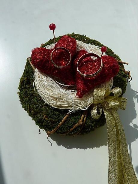 Podstavec na obrúčky (hniezdo) - svadba - Obrázok č. 1