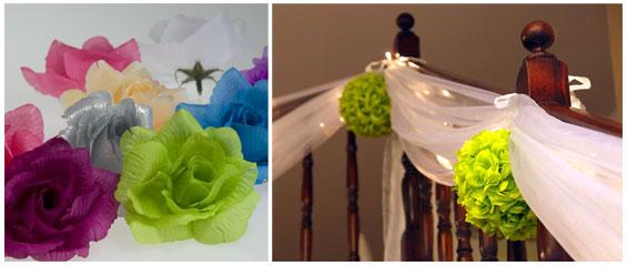 Selská svatba + Má tvorba - Podobně řešena bude výzdoba kolem občerstvení pod střechou.. :) Je tam nevzhledná zeď a široký tyl a barevné pom poms či kissing ball ji totálně oživí.. :)