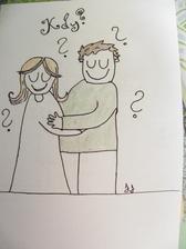 1. viněta do svatebních novin hotova.. Akorát jsem ze svého nastávajícího udělala trochu tlouštíka...