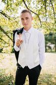Svadobná vesta pre ženícha s kravatou a vreckovkou, 38