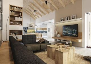 po dlouhém hledání jsem našla elegantní obývací stěnu, která by se mi líbila, líbí se mi i ty špalíčky jako konferenční stolek :)