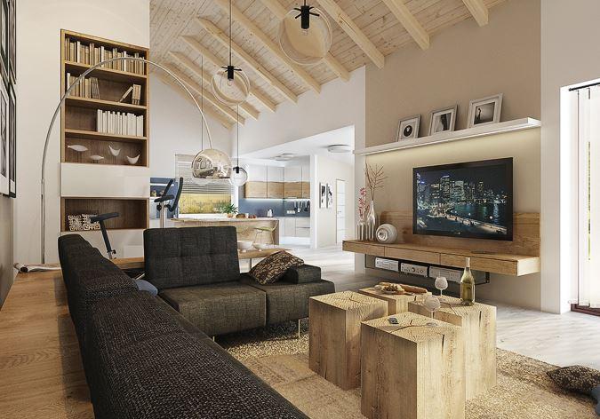 Co se nám líbí - po dlouhém hledání jsem našla elegantní obývací stěnu, která by se mi líbila, líbí se mi i ty špalíčky jako konferenční stolek :)