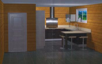Projekt kuchyne c.2: s dvojfarebnou fasadou - dolne skrinky tmave, skrine + horna skrinka bledsie.