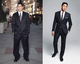 Fotka na porovnanie, na prvej je asi o 2 čísla väčší oblek :-D ten druhý môže byť, len zelenú kravatu...