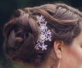 spona do vlasů s perličkami a kamínky, hřebínek,