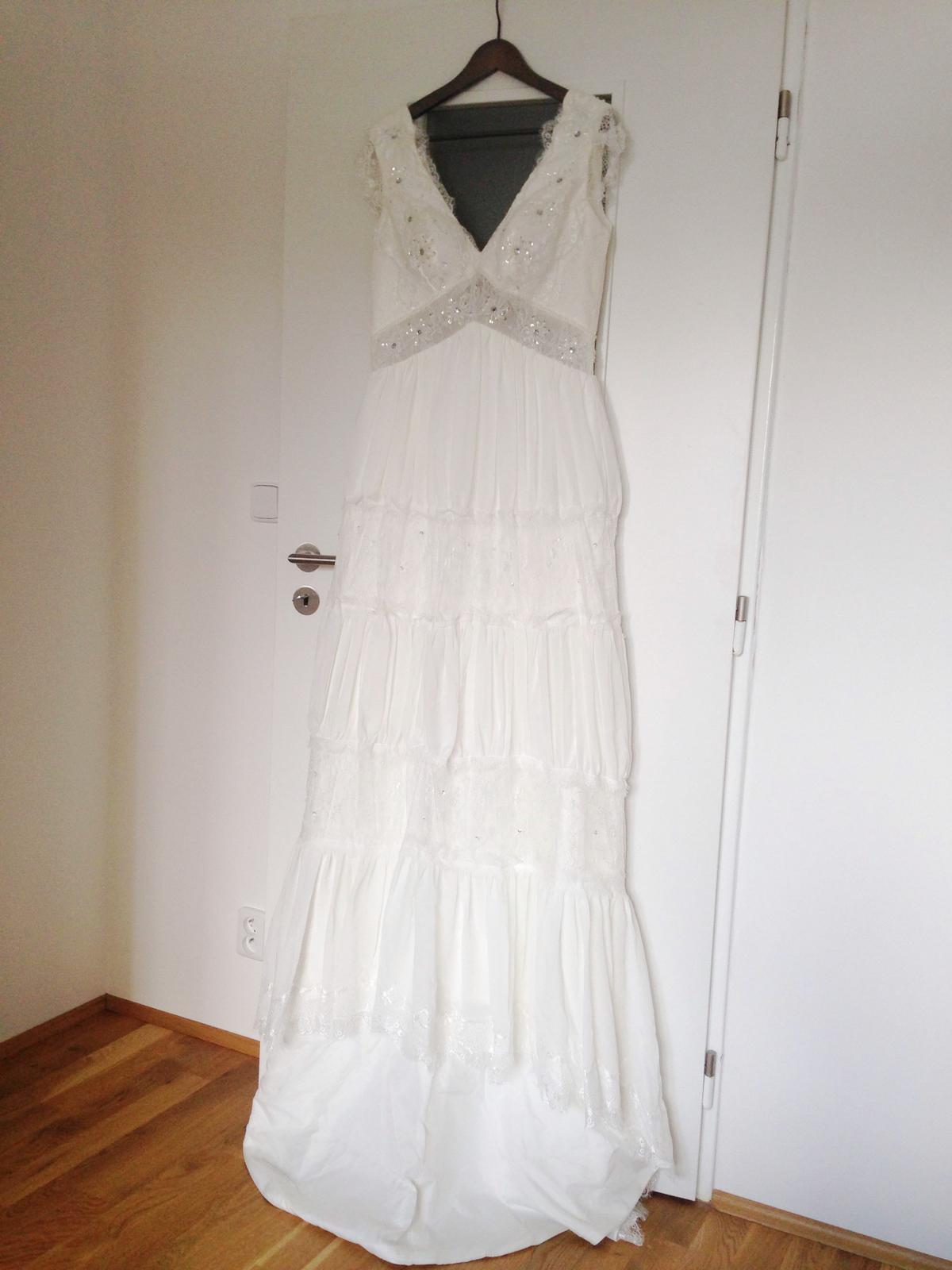 Boho krajkové svatební šaty - nenošené - Obrázek č. 1