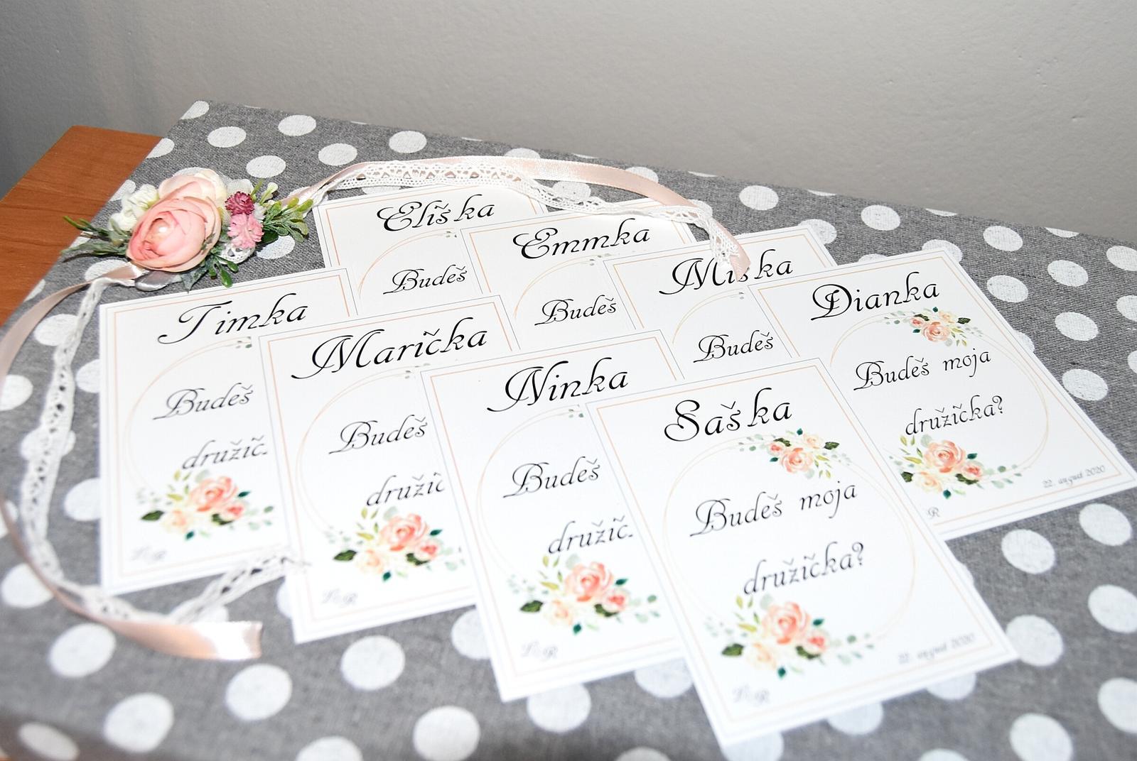 """Wedding Time - Jednoduché kartičky pre """"baby"""" družičky :)"""