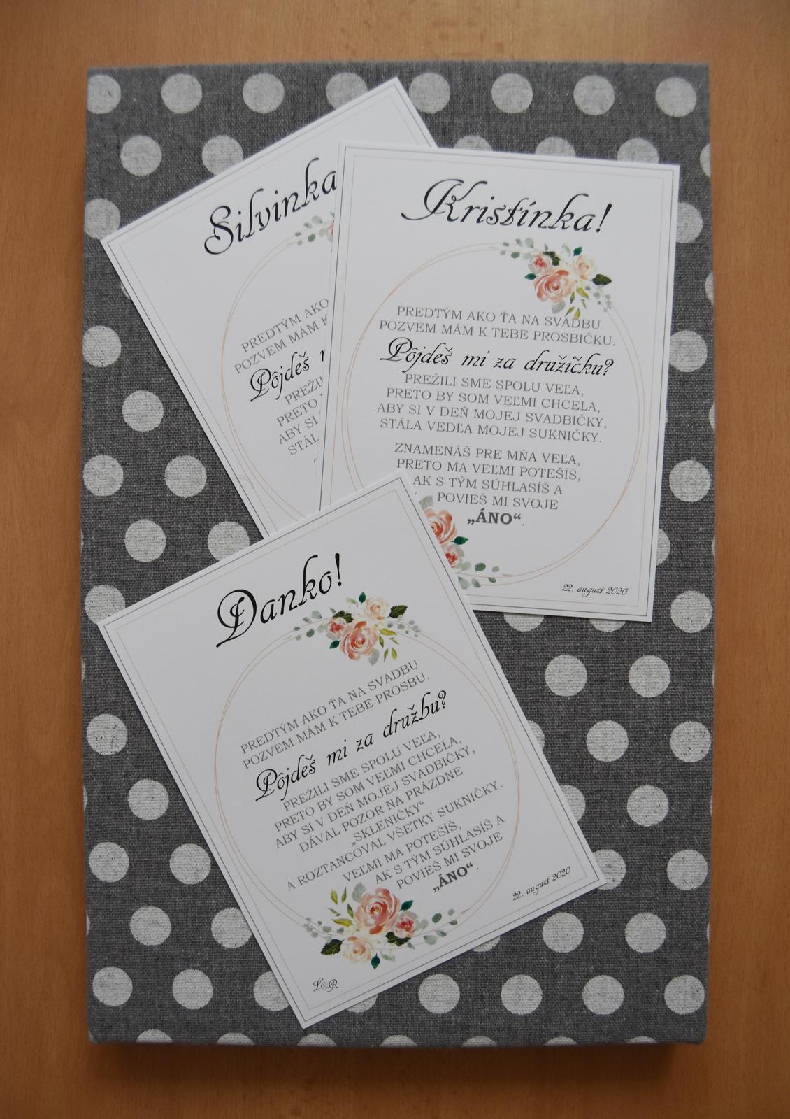 Wedding Time - kartičky pre moje družičky a družbu :)