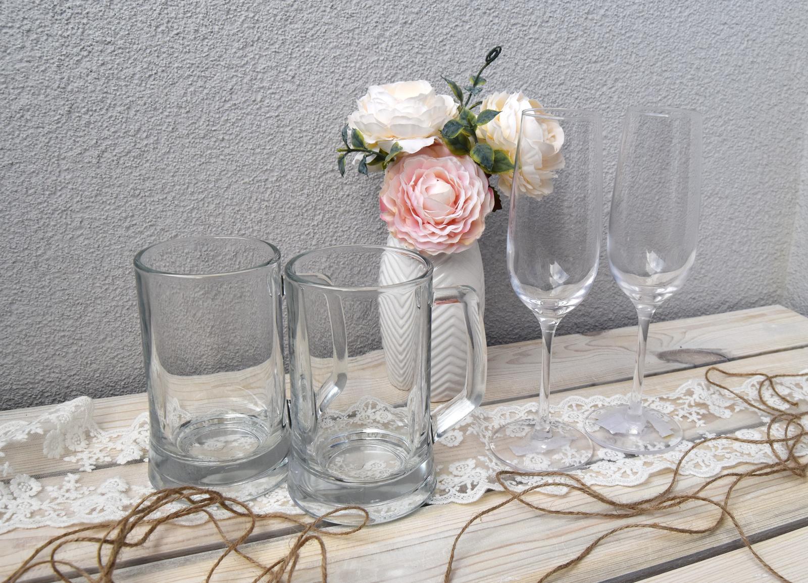 Wedding Time - svadobné poháre :) už ich len dozdobiť :)