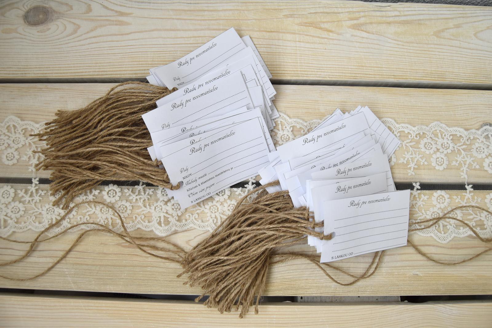 Wedding Time - Rady pre novomanželov dokončené a už len nájsť peknú fľašu, kde nám tieto rady hostia vhodia :)