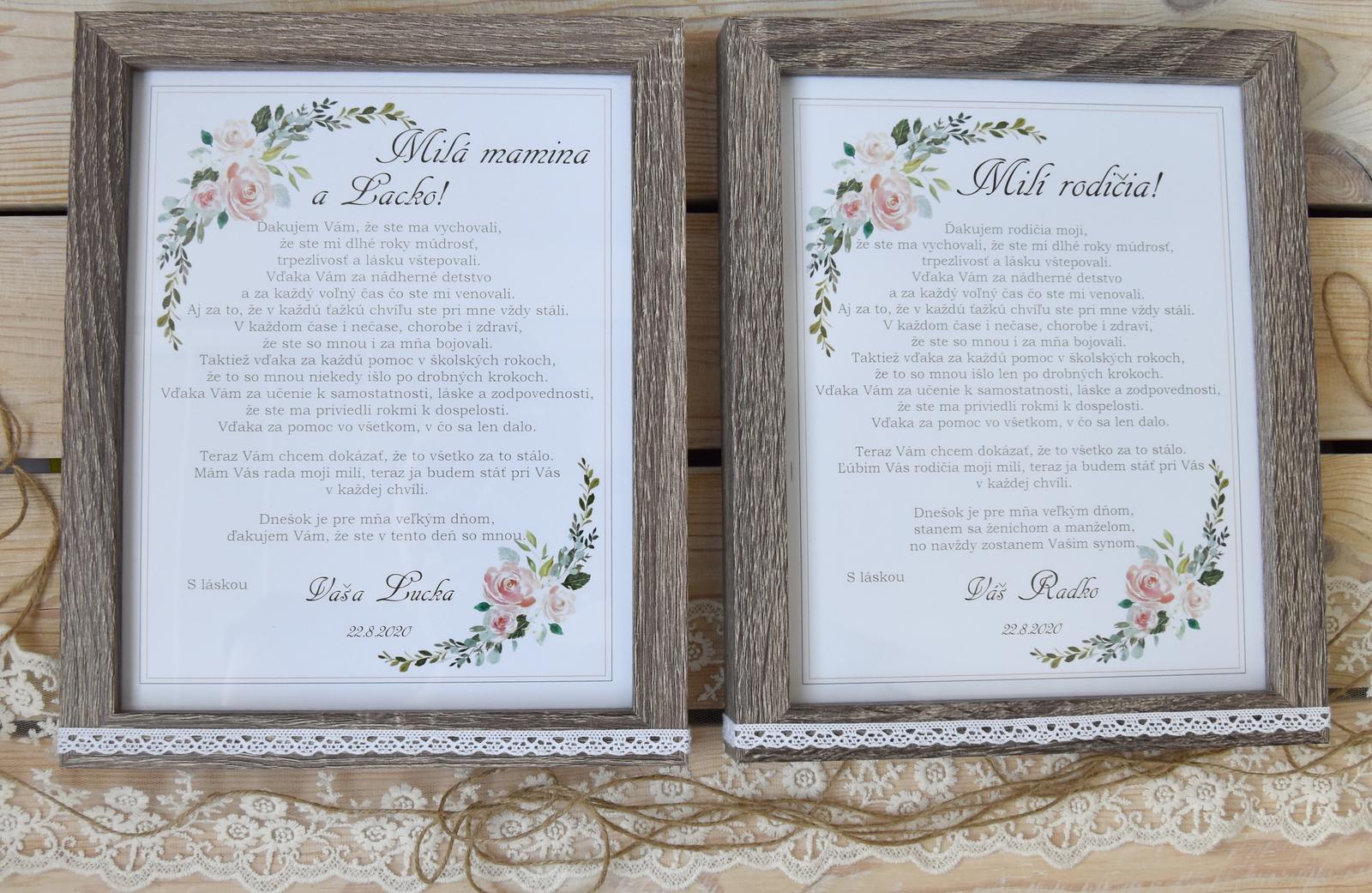 Wedding Time - pre rodičov darček pri odobierke (po svadbe tam budú mať našu fotku ) a k tomu dostanú ešte vyšívané vreckovky s textom :)