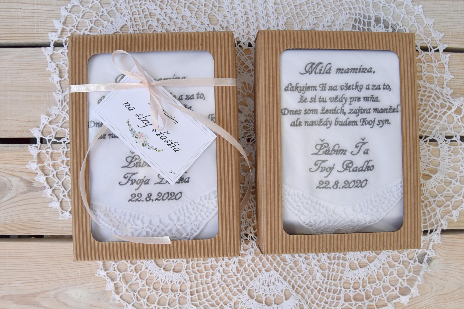 Wedding Time - Darček pre mamičky :) Vyšívané krajkové vreckovky :)