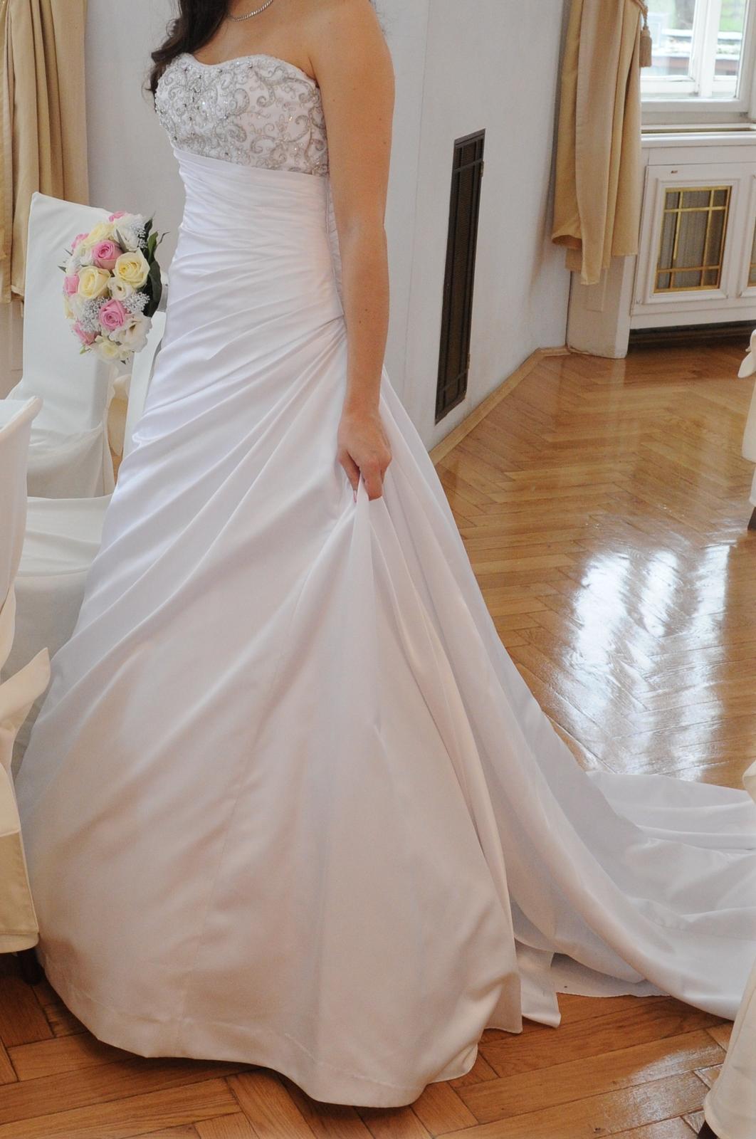 Elegantní svatební šaty - bílé vel. 38 - Obrázek č. 3