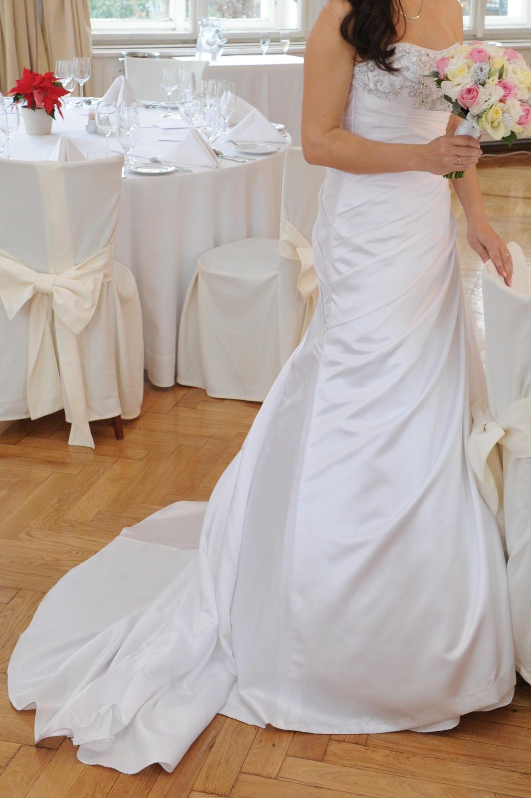 Elegantní svatební šaty - bílé vel. 38 - Obrázek č. 2