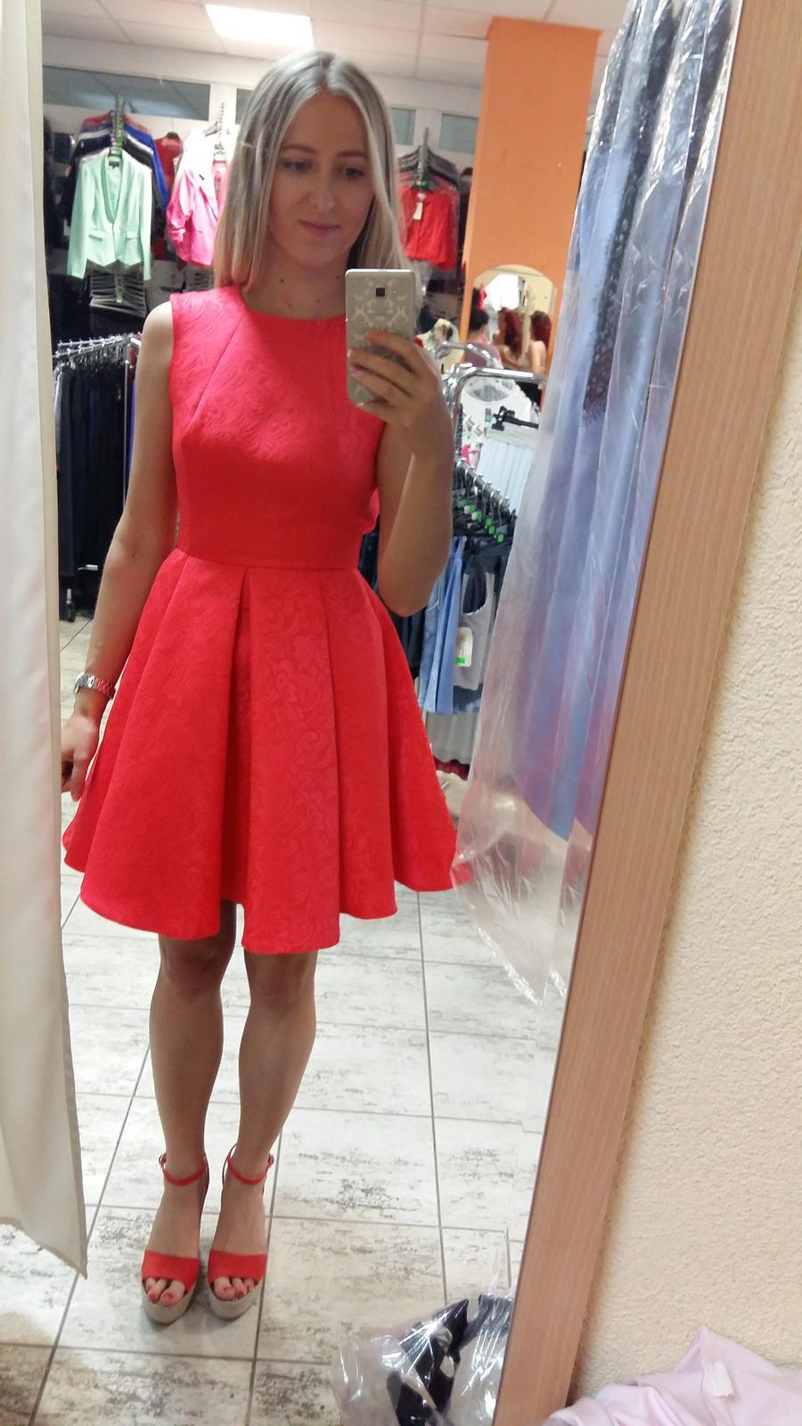 Ružové spoločenské/popolnočné šaty veľ.36 - Obrázok č. 2