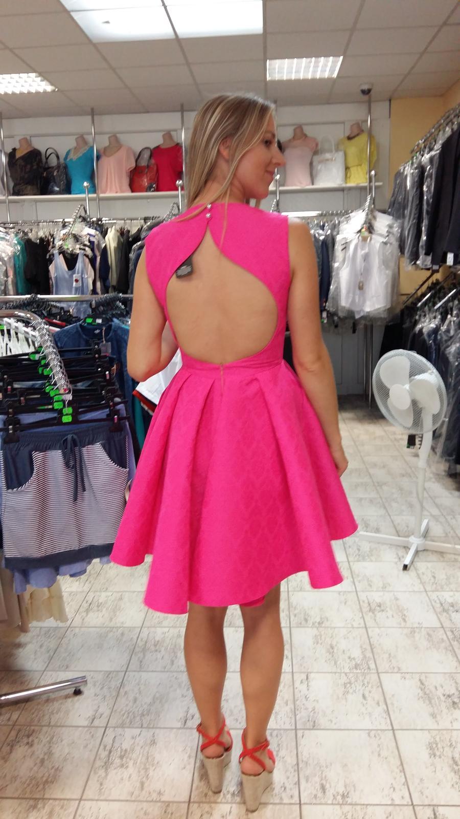 Ružové spoločenské/popolnočné šaty veľ.36 - Obrázok č. 4