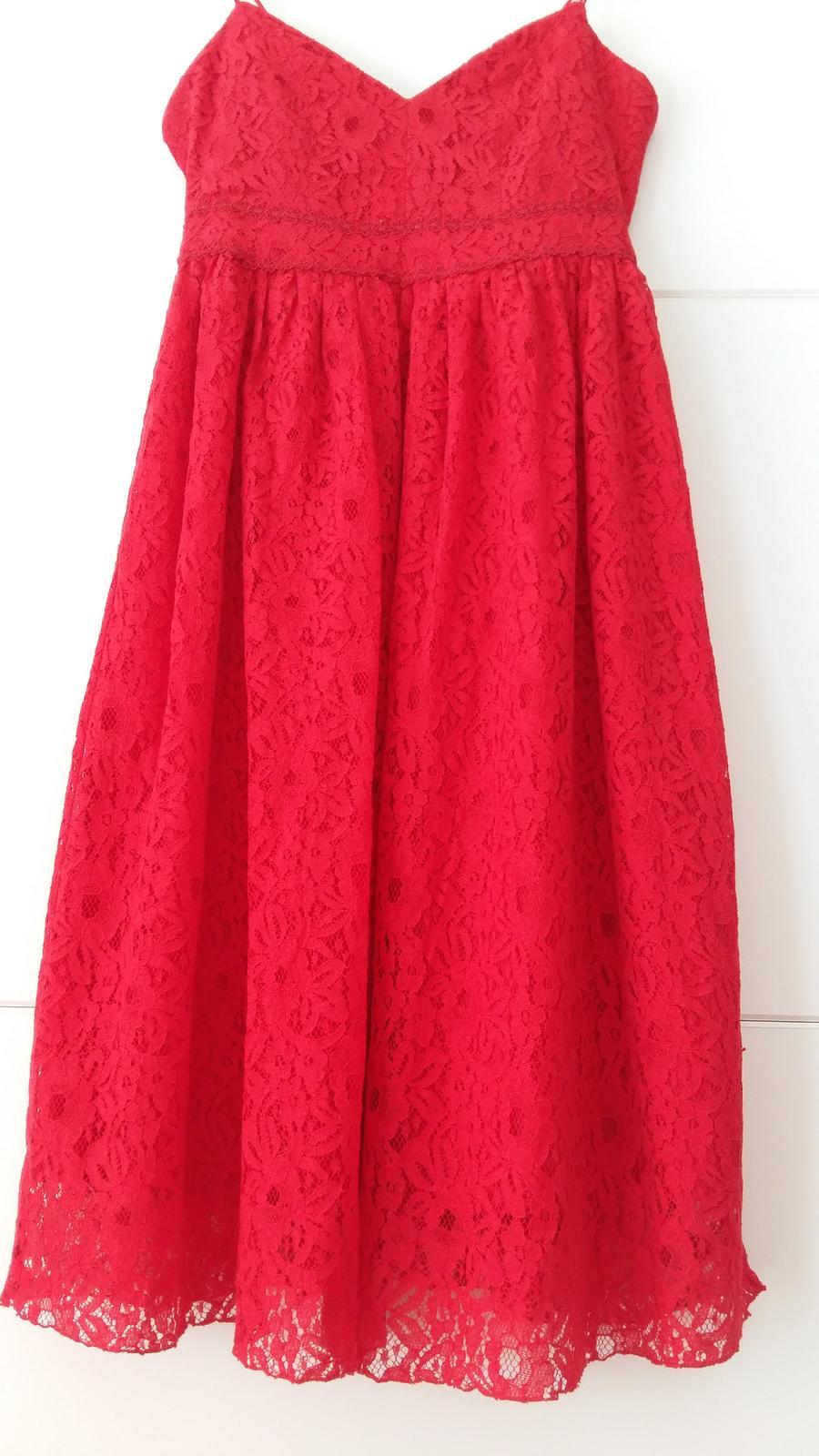 Červené čipkované šaty s výstrihom veľ. 42 - Obrázok č. 3