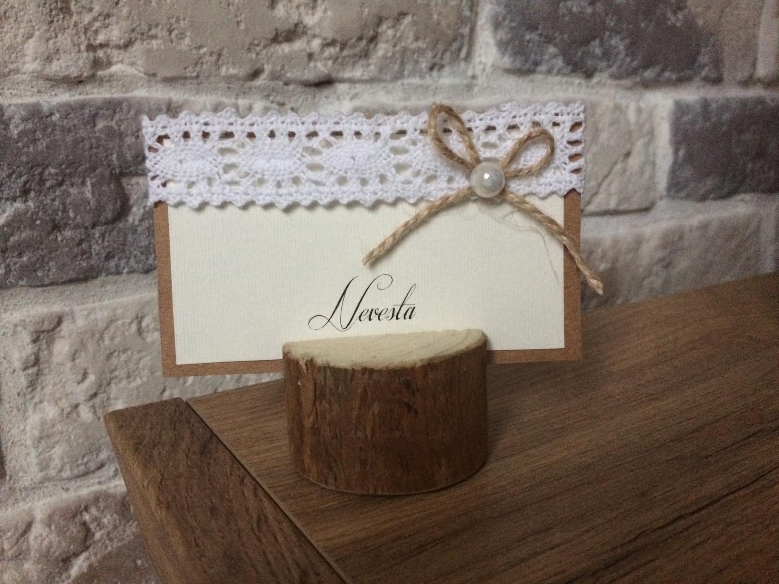 Drevený vintage Držiak na menovky a svadobné menu - Obrázok č. 1