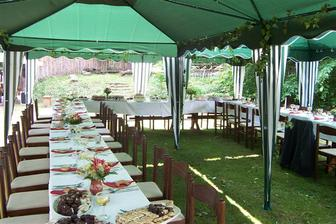 rozmístění stolů na zahradě bude podobné, svatební tabule bude laděná v zeleno bílé barvě