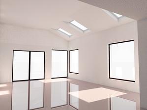 vizualizácia obývačka - otvorený strop