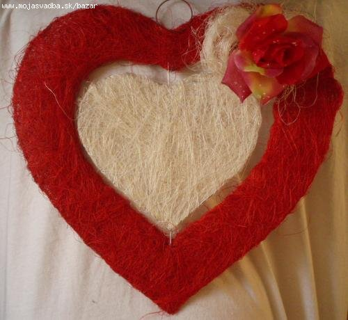 26.4.2008 - Dadka a Janko - Srdce na dekoraciu zo sisalu