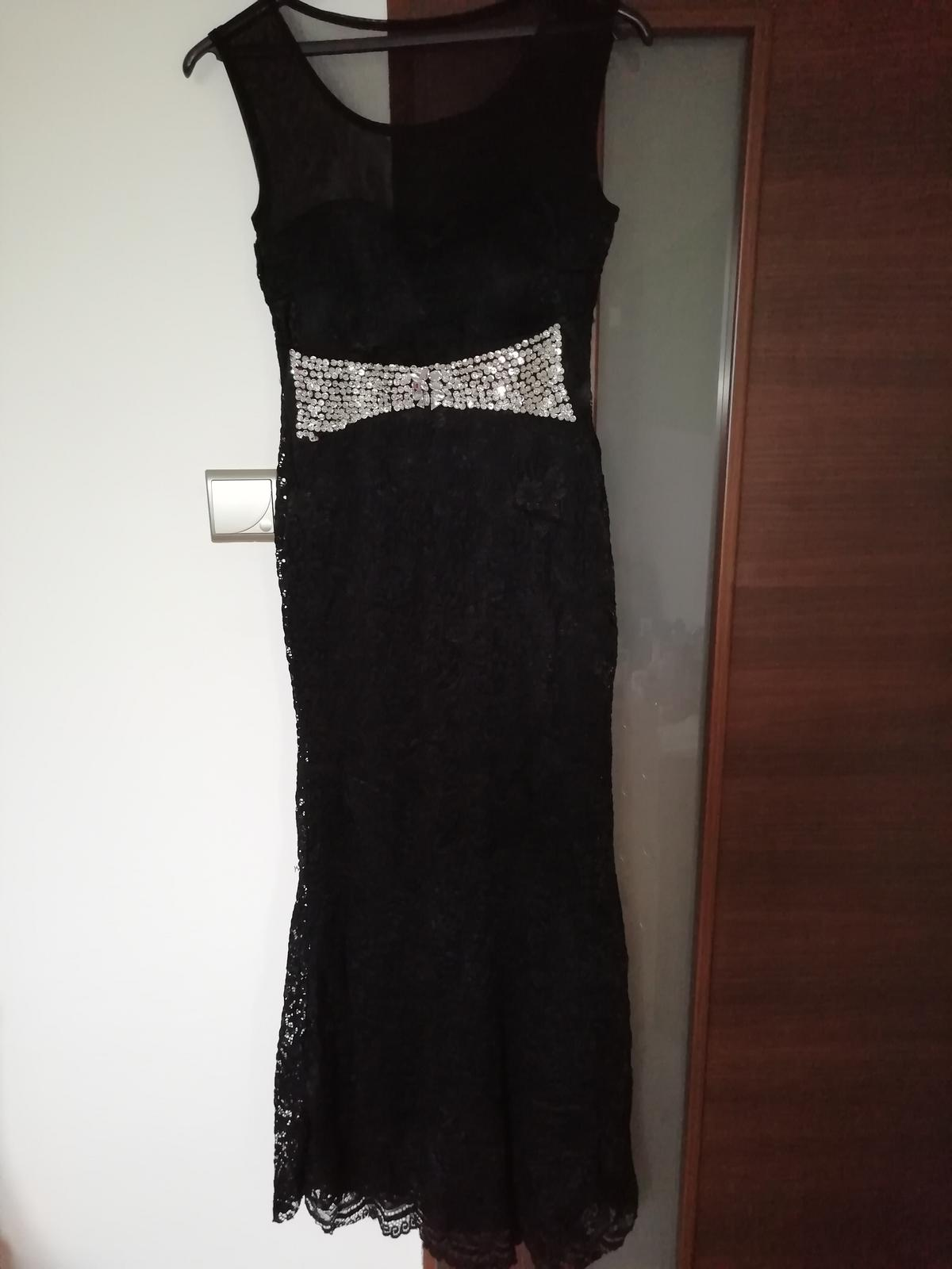 Čierne dlhé čipkovane šaty  - Obrázok č. 2