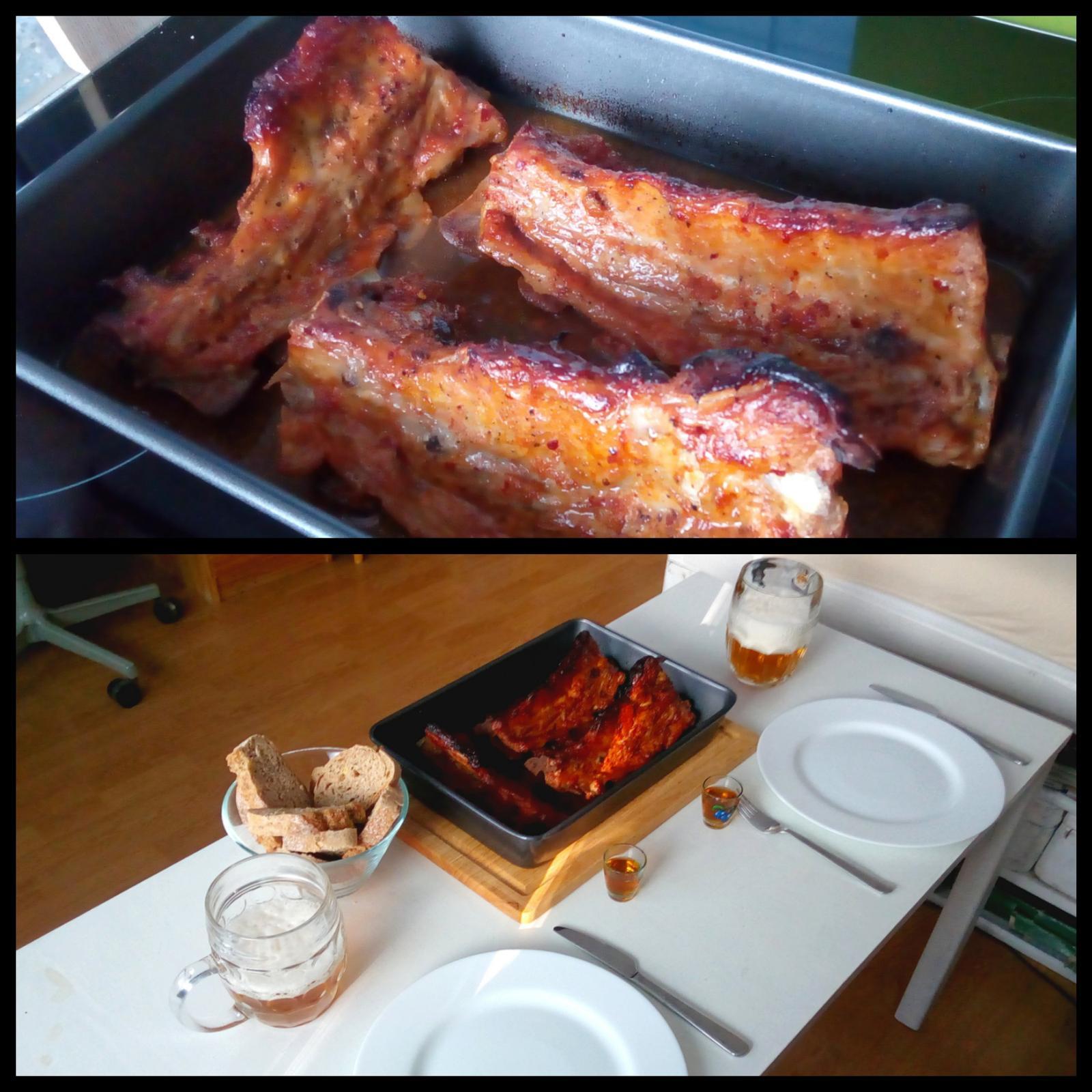 Hokus pokus v kuchyni - můj první pokus o pečená vepřová žebírka v medovo-pikantní marinádě; dobrůtka to byla :-)
